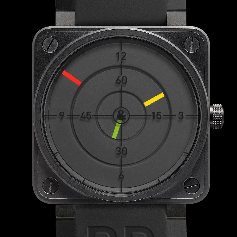 Montre d'aviateur Bell and Ross aviation BR01-92 Radar - Cadran