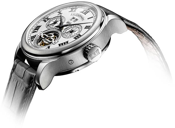 "Chopard LUC 150 ""All in One"" avec multiples complications : détail du cadran et de la couronne"