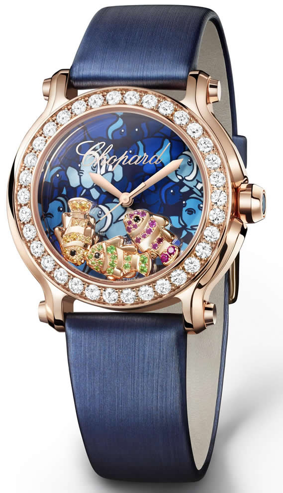 Chopard Happy Diamonds - Happy Fish en Or Rose 18k avec lunette en diamans